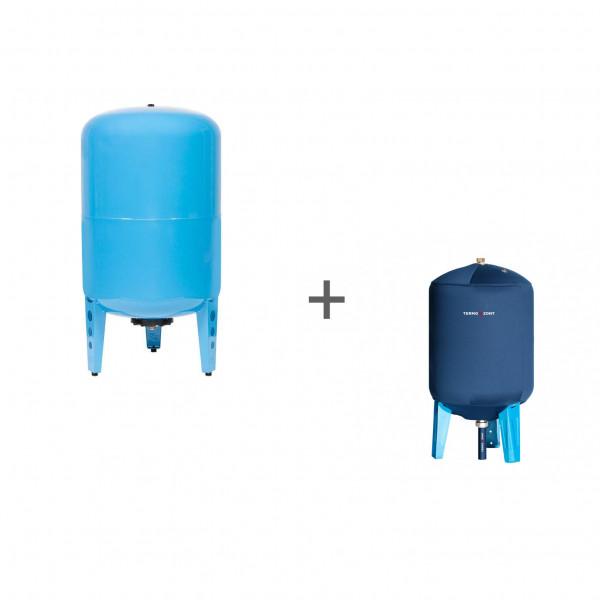 Гидроаккумулятор Джилекс 150ВП к (вертикальный, комбинированный фланец) + Чехол TermoZont GB 150 для гидробака